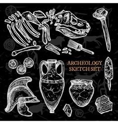 Archeology chalkboard sketch set vector