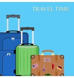 Baggage luggage suitcases on background vector image vector image