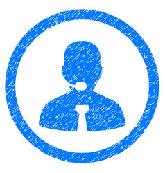 Call center operator rounded grainy icon vector