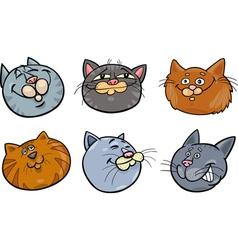 Cartoon funny cats heads set vector image