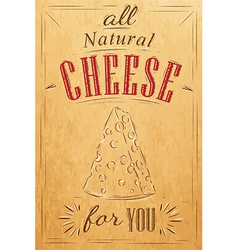 Cheese poster kraft vector