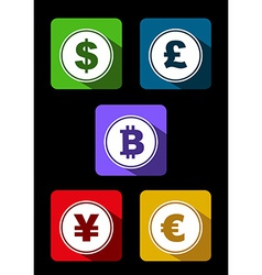Currency symbol with long shadow vector image