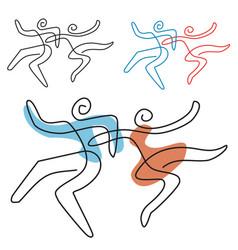 Dancing couple line art vector