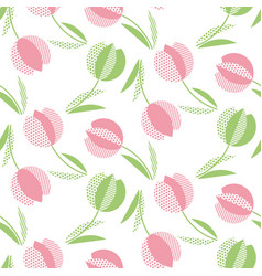 Decorative tulip flower seamless pattern geometric vector