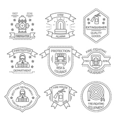 Firefighting linear emblems vector