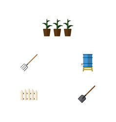 Flat icon farm set of shovel flowerpot container vector