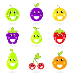 fruity icon collection vector image vector image