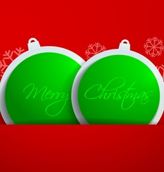 Green paper christmas balls on red background vector
