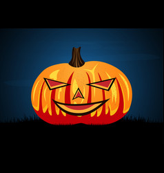 Halloween pumpkin on graveyard grass vector