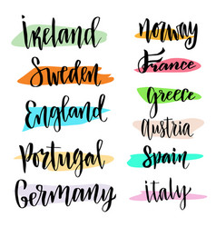 Hand lettering modern calligraphic countries of vector