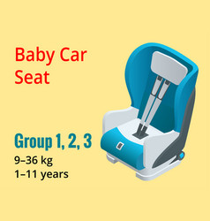 Isometric baby car seat group 123 vector