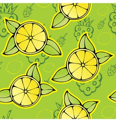 lemon raspberry pattern vector image