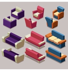 Living room isometric furniture set sofa vector