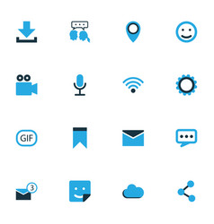 Media colorful icons set collection of envelope vector