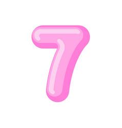 number 7 candy font caramel alphabet seven vector image