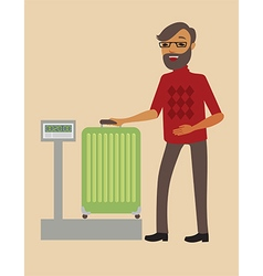 Passenger weighing his big suitcase vector