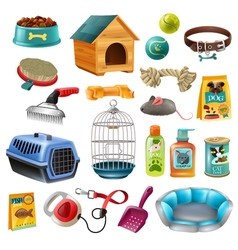 Pet care elements set vector