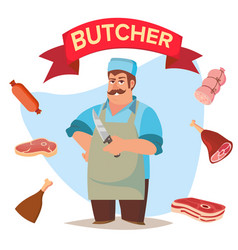 Professional butcher classic butcher man vector