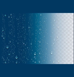 Realistic water droplets on the transparent window vector