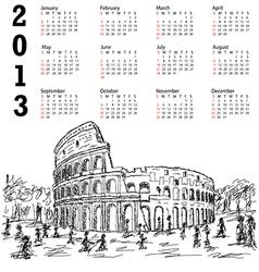 rome colosseum 2013 calendar vector image vector image