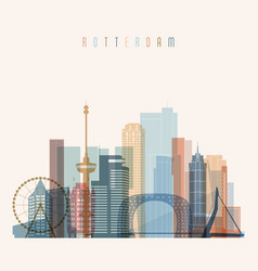 Rotterdam skyline detailed silhouette vector