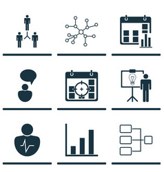 Set of 9 executive icons includes solution vector