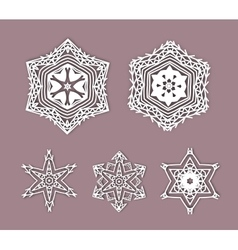 Snowflakes with 3d effect logo icons winter vector