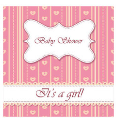 Striped-background-baby-shower-girl vector image vector image