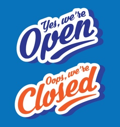 stylized open closed store signs vector image