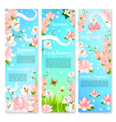 Summer flowers bouquets banners vector