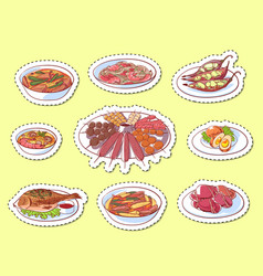Thai cuisine dishes isolated labels vector