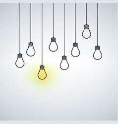 with hanging light bulbs one vector image