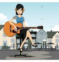 Woman guitarist vector