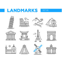 World famous landmarks - line design icons set vector