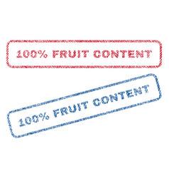 100 percent fruit content textile stamps vector