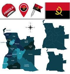 Angola map with named divisions vector