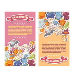 Halloween banners set with cute characters vector