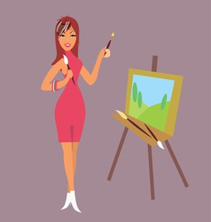 Brunette girl artist draws a landscape vector
