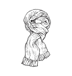 Bright slip knotted winter knitted scarf with vector