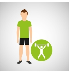 Athlete man barbell weight sport graphic vector