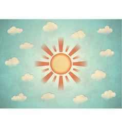 Vintage card with sun vector image
