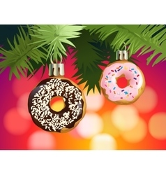Festive background with donuts - decorations for vector