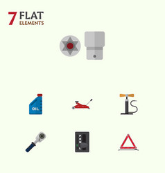 Flat auto set of ratchet petrol wheel pump and vector