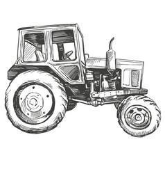farm tractor hand drawn vector image