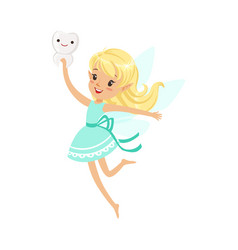 Beautiful sweet blonde tooth fairy girl flying and vector