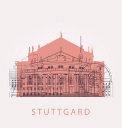 Outline stuttgart skyline with landmarks vector