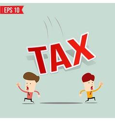Businessman run away from tax burden vector image