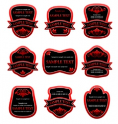 set of red labels vector image