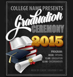 Graduation ceremony poster template vector