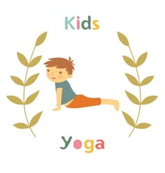 Cute yoga kids card with little boy doing yoga vector